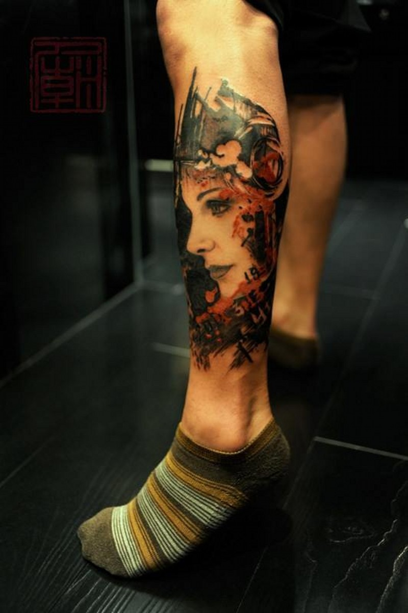 Marvelous very detailed and colored leg tattoo of woman portrait
