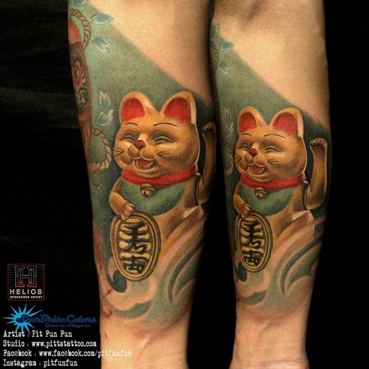 Marvelous very detailed arm tattoo of maneki neko japanese lucky cat with tablet
