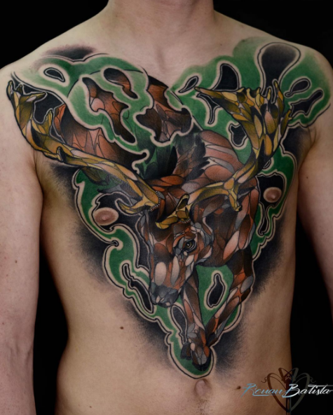 Marvelous very detailed chest and belly tattoo of big flowers