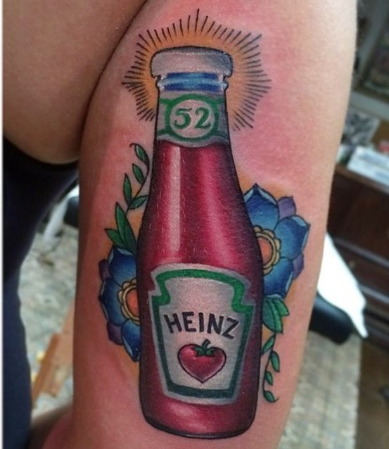 Marvelous very detailed multicolored Heinz ketchup bottle tattoo on arm stylized with flowers