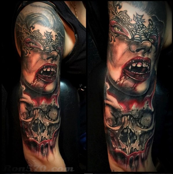 Marvelous very detailed sleeve tattoo of vampire woman for Vampire skull tattoo
