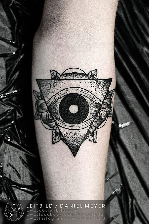 Masonic like big pyramid with flowers tattoo on arm