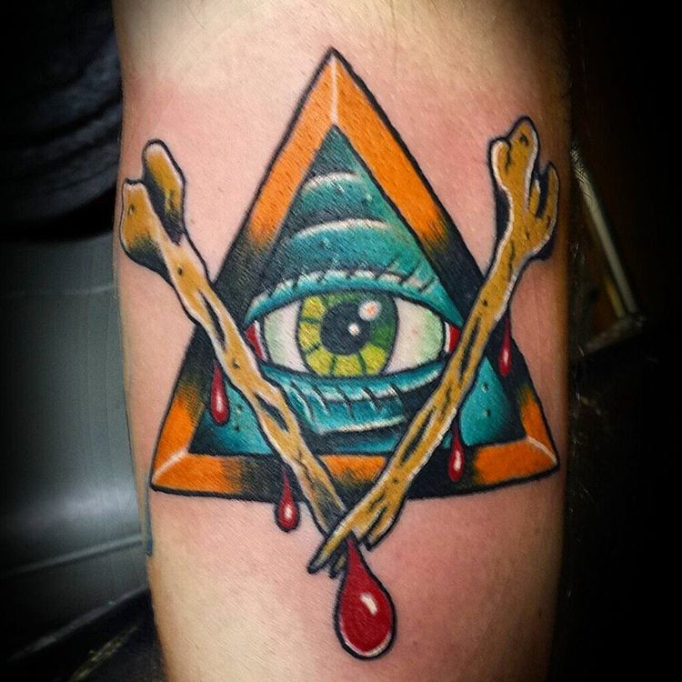 Masonic pyramid with crossed bloody bones colored tattoo in old school style