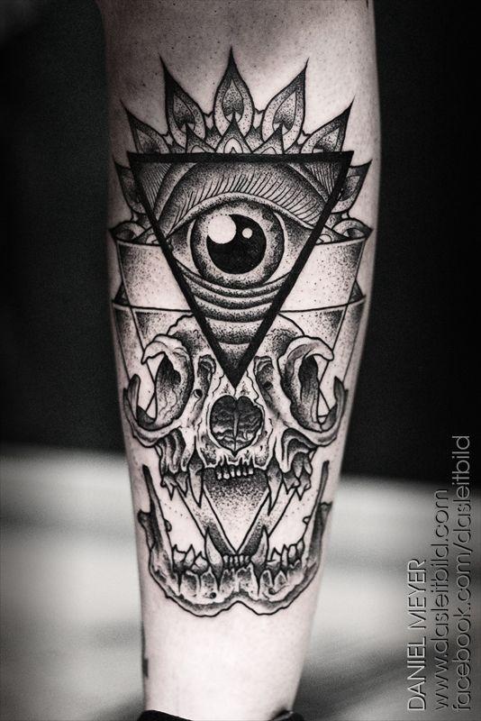Masonic style big black ink mystical pyramid with skull tattoo on leg