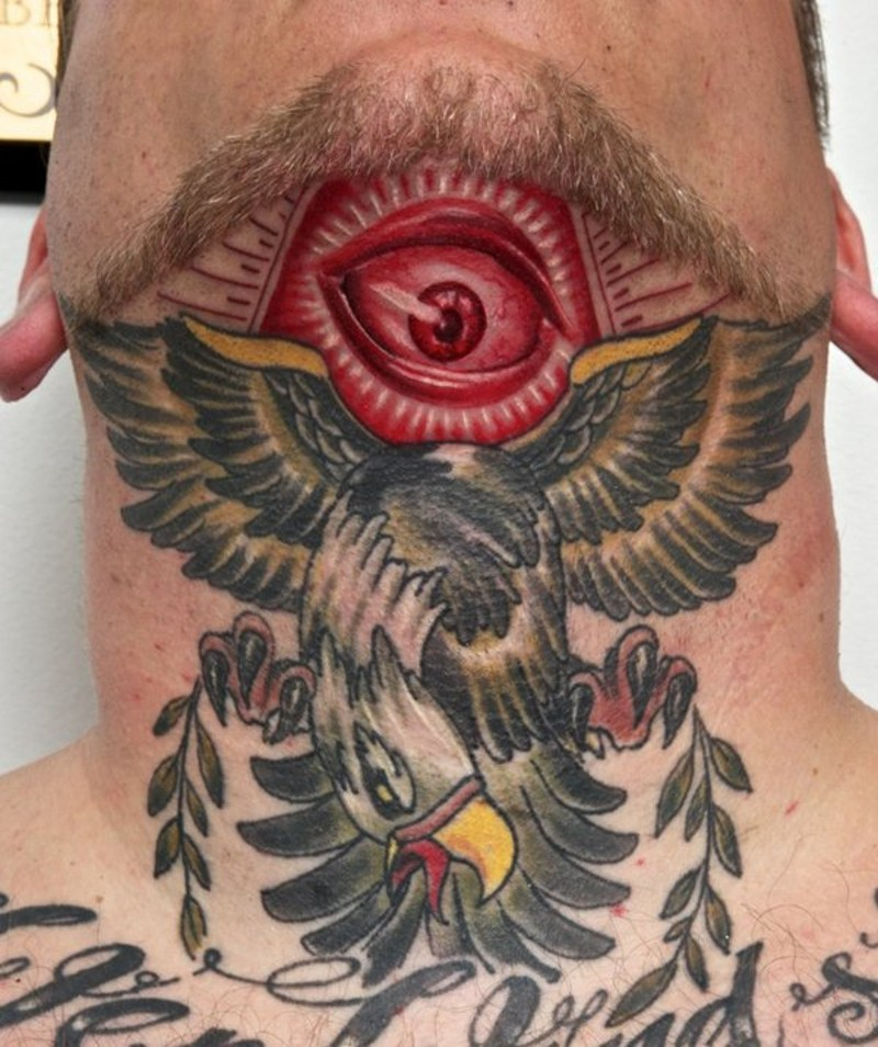 Masonic style colored mystical tattoo with big bird on neck