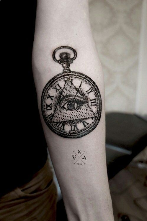 masonic style little black ink clock with pyramid tattoo on arm. Black Bedroom Furniture Sets. Home Design Ideas