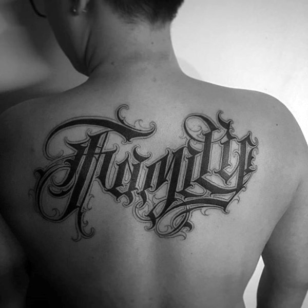 Massive 3D like black and white beautiful lettering tattoo on upper back