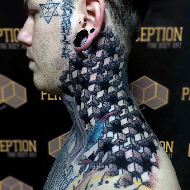Tatuaje en el cuello, ornamento estupendo volumétrico