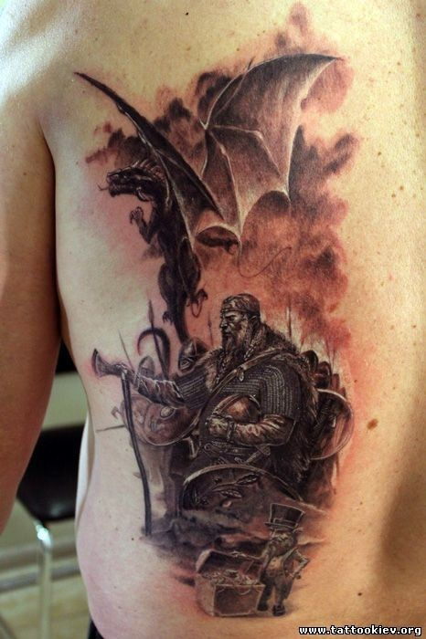 Massive 3D like detailed medieval fantasy times tattoo on back with little leprechaun