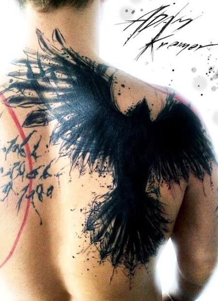 Massive abstract style black ink upper back tattoo of crow by Adam Kremer