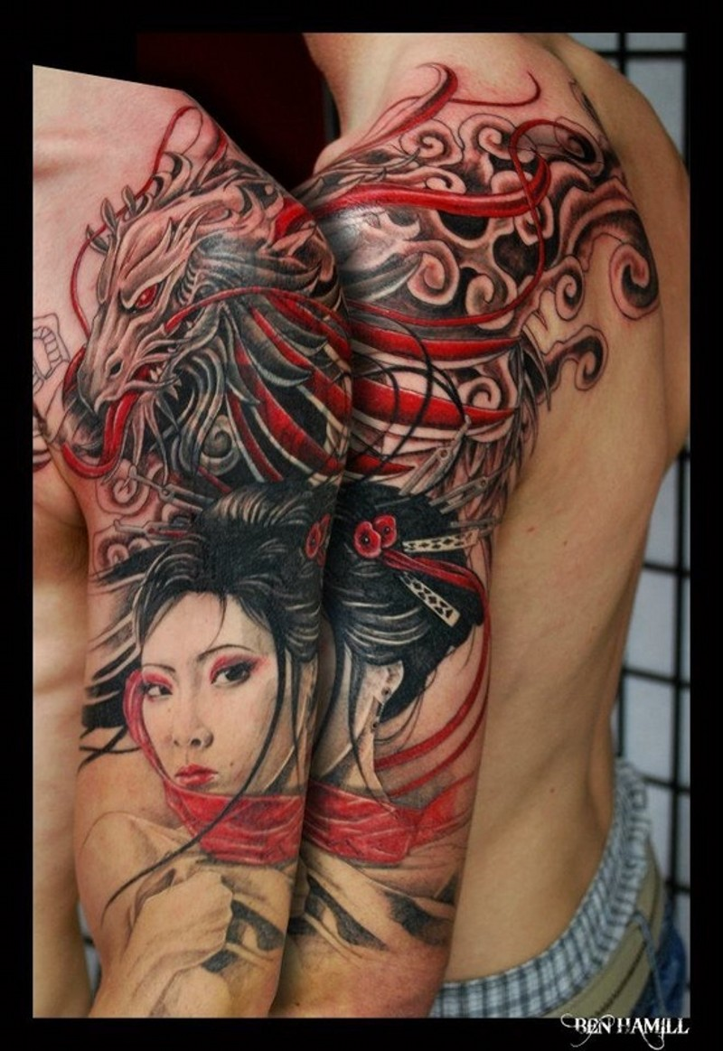 Massive amazing colored half sleeve tattoo of Asian geisha and fantasy dragon