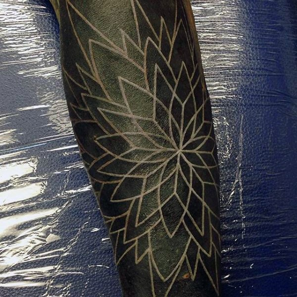 Massive beautiful white ink flower tattoo on arm