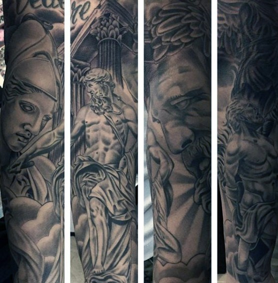Massive black and white antic statue tattoo on sleeve