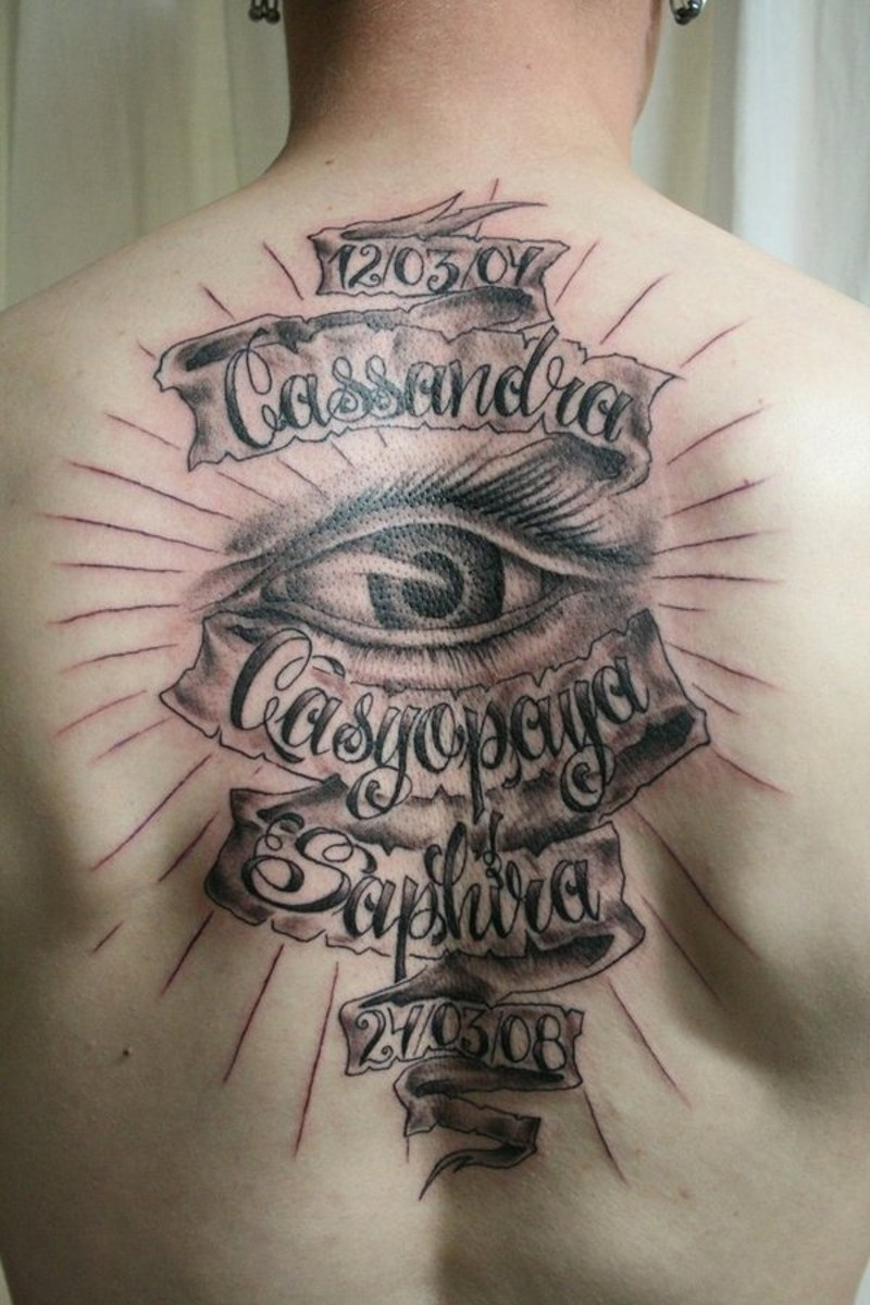 Massive black and white memorial lettering tattoo on whole back