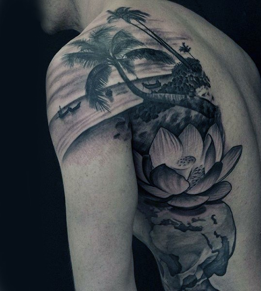 Awesome palm images part 2 for Ocean tattoos black and white