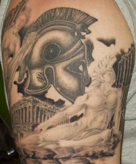 Massive black ink detailed shoulder tattoo of antic Greece