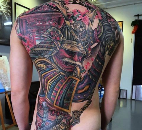 Massive colored Asian style detailed whole back tattoo of samurai warrior