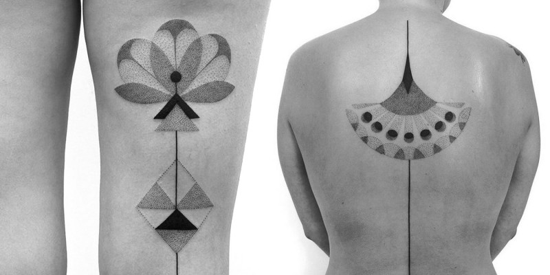 Massive colored geometrical flowers tattoo on upper back and thigh