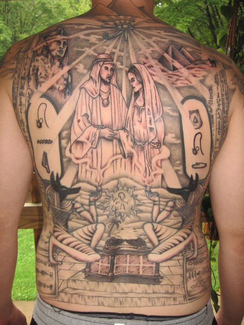 Massive colored various religions themed tattoo on whole back