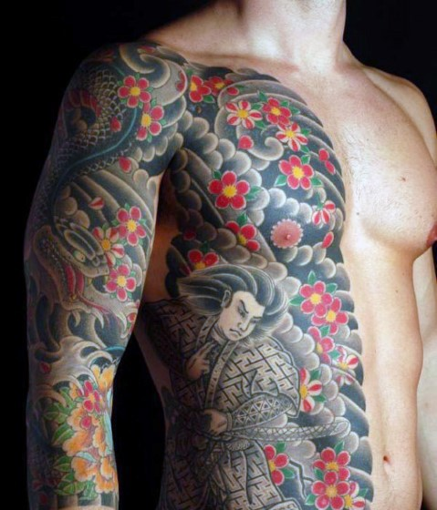 massive multicolored asian themed half body tattoo of various flowers with snake and warrior. Black Bedroom Furniture Sets. Home Design Ideas