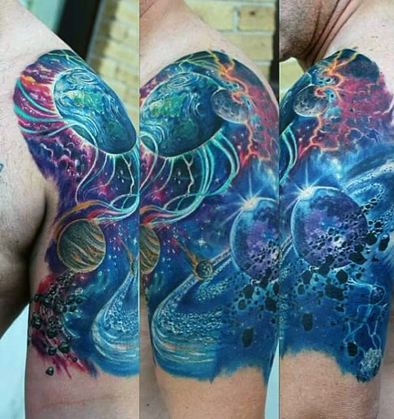 solar system tattoo half sleeve - photo #2