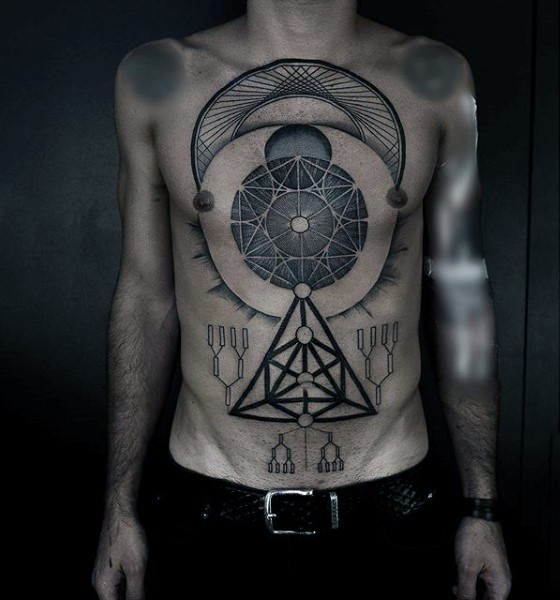 Massive multicolored geometrical symbols tattoo on chest and belly