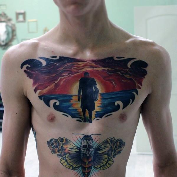 massiccio multicolore mistico uomo su tramonto tatuaggio su petto