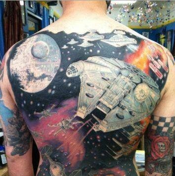 Massive multicolored Star wars themed tattoo on whole back