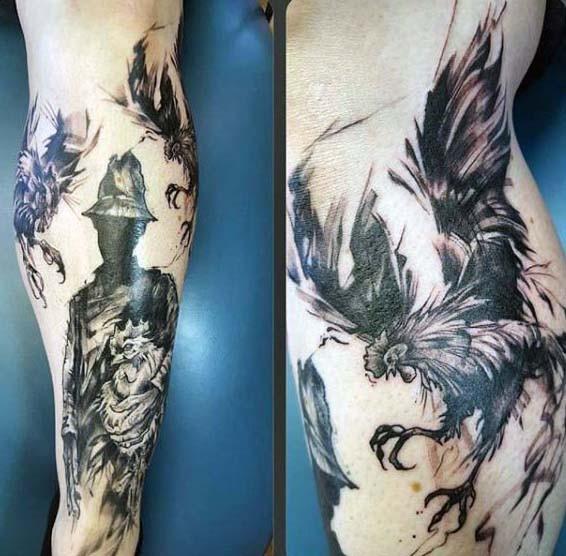 massiccio mistico inchiostro nero gallo da battimento con uomo tatuaggio su gamba