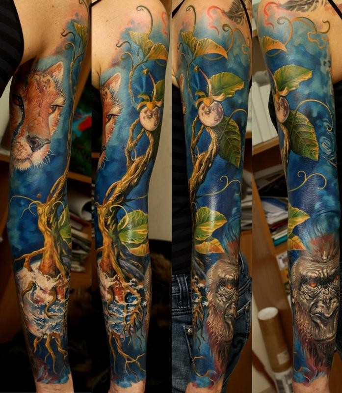 Massive natural looking very detailed various animals tattoo on sleeve with lonely plant