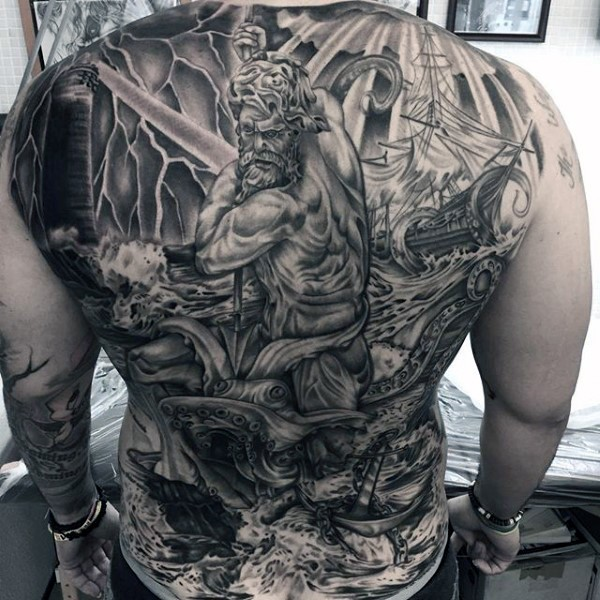 Massive nautical themed very detailed Poseidon with ship and octopus tattoo on whole back