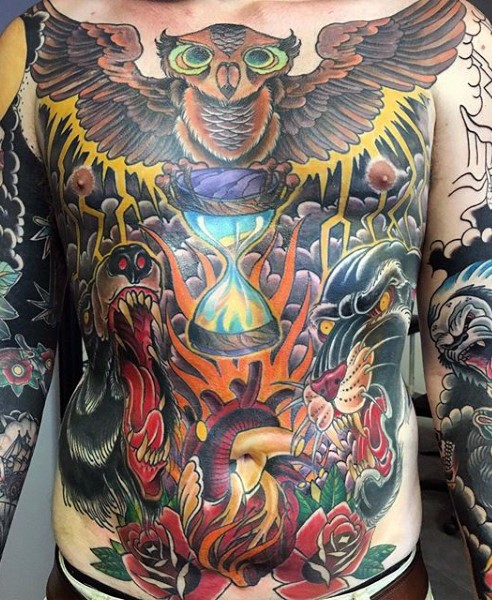 Massive old school style colored various animals tattoo on whole chest