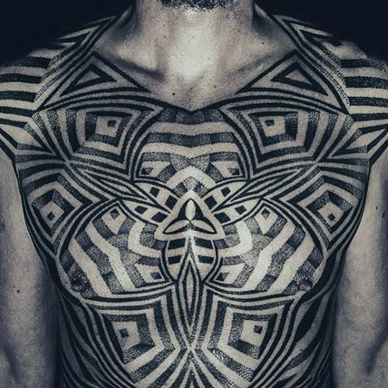 massiccio Polinesiano nero e bianco ornamento tatuaggio pieno su corpo