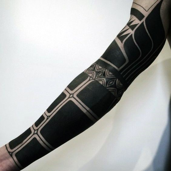 Massive simple black ink tribal ornaments tattoo on sleeve