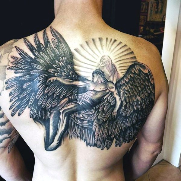 Massive very detailed fallen angel tattoo on upper back