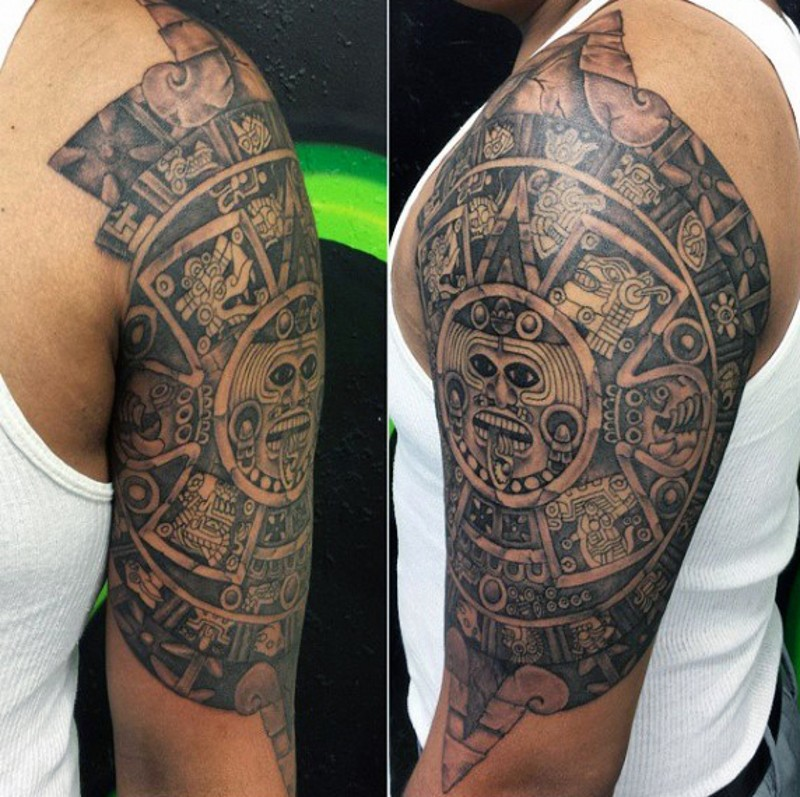 Mayan traditional black and white forearm tattoo of big tablet