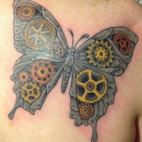 Mechanical steampunk butterfly tattoo