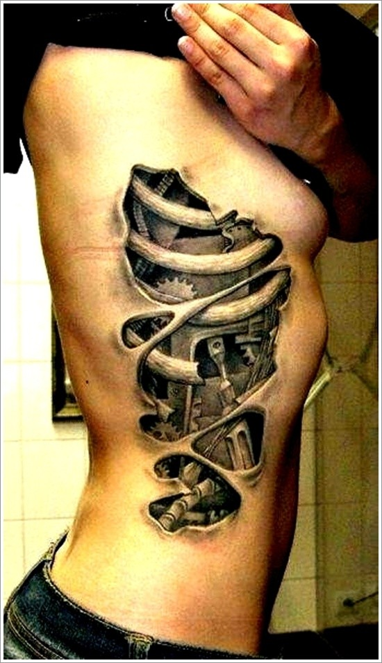 Mechanism tattoo on ribs for girls