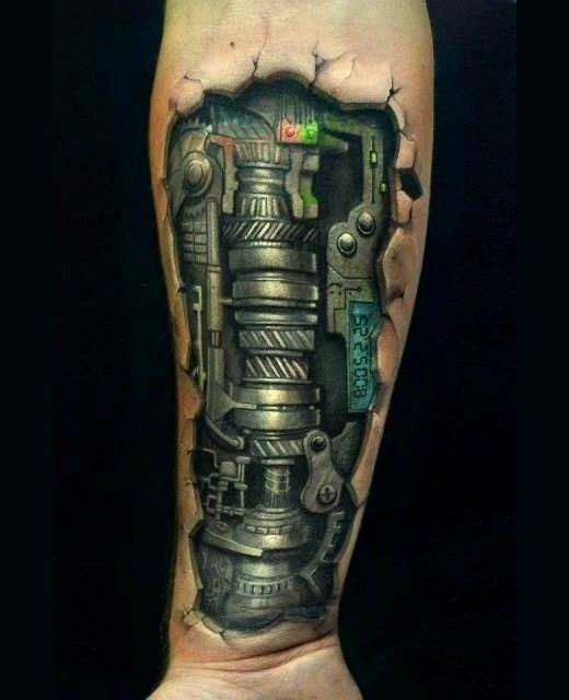Mechanism under skin tattoo on arm for Skin gallery tattoo