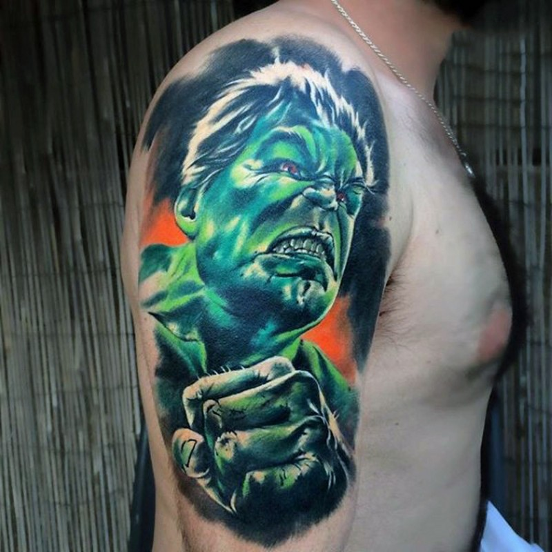 Medium colored shoulder tattoo of angry Hulk