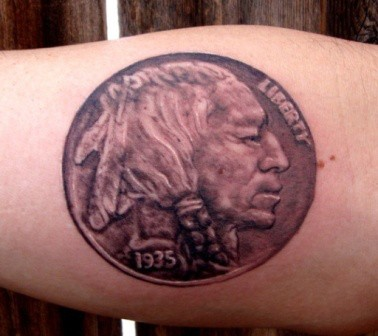Medium size ancient coin detailed tattoo with lettering
