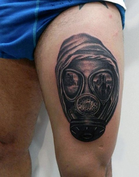 Medium size black and gray style man in gas mask and hood