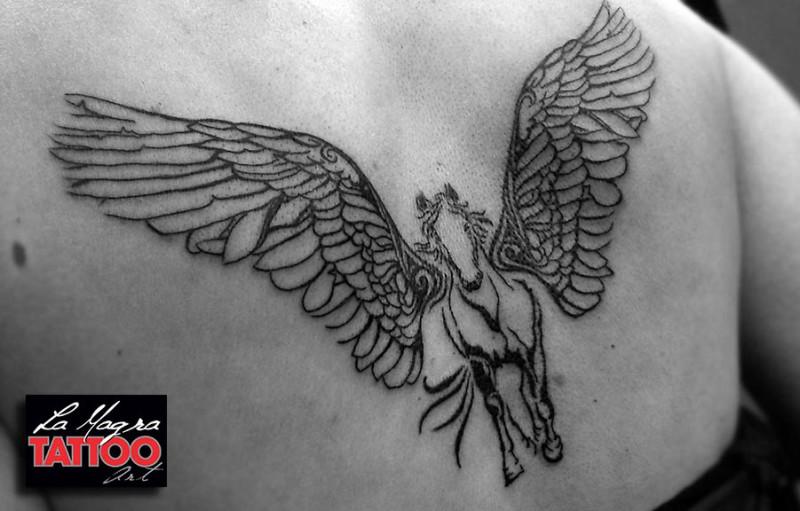 Medium size black ink back tattoo of pegasus horse