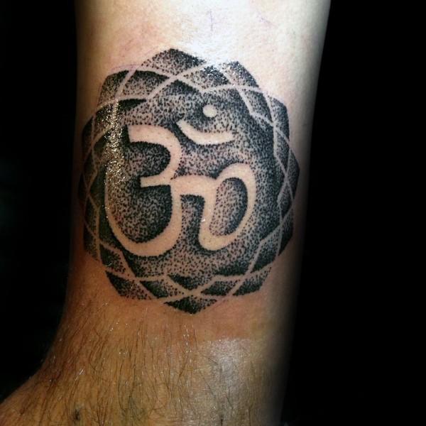 Medium Size Black Ink Leg Tattoo Of Hinduism Symbol
