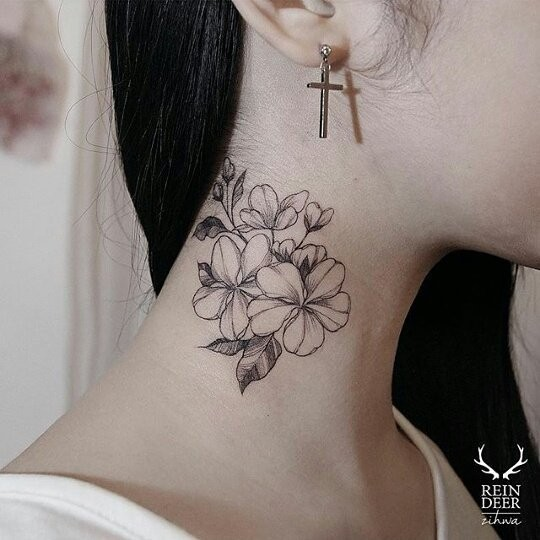 Medium size black ink neck tattoo painted by Zihwa of flowers