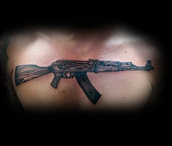 Medium size colored chest tattoo of ak 47 rifle for Tattoo of ak