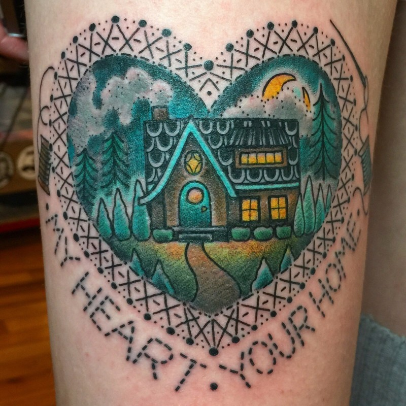 Medium size colored heart shaped tattoo stylized with night house with lettering