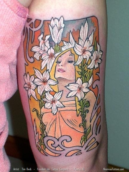 Medium size colored illustrative style woman with flowers tattoo on arm
