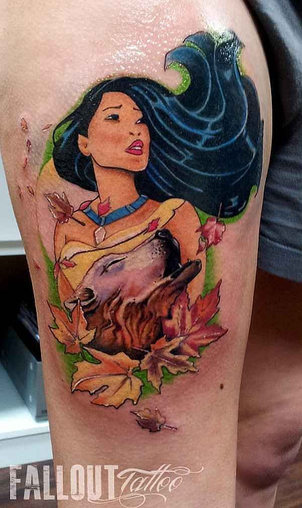 Medium size colored thigh tattoo of Pocahontas and bear