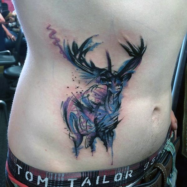 Medium size watercolor style colored waist tattoo of cute deer